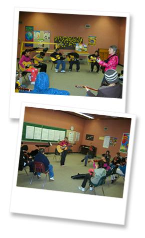 Photos of Sister Dorothy teaching music